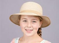 New childrens straw hat SC55 which is shown on a model