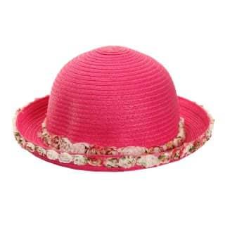SC14 - GIRLS' FLORAL TRIM STRAW HAT